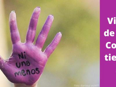Violencia de género: cosas que tienes que saber portada. Imagen de una mano pintada de púrpura con la frase Ni Una Menos
